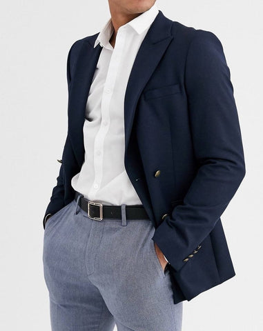 Navy skinny double breasted blazer with gold button