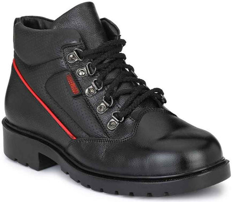 Black Timberwood Genuine Leather Waterproof Steel Toe Safety Shoes Boots