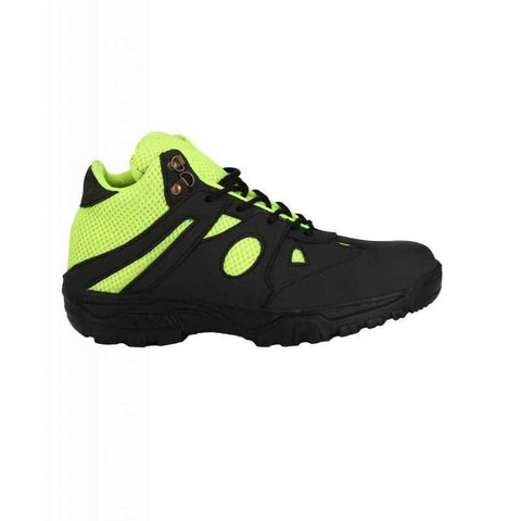 Black Fluorescent Green Leather Wave Walk Steel Toe Safety Shoes