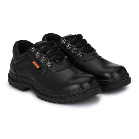 Black Timberwood Genuine Leather Steel Toe Safety Shoes