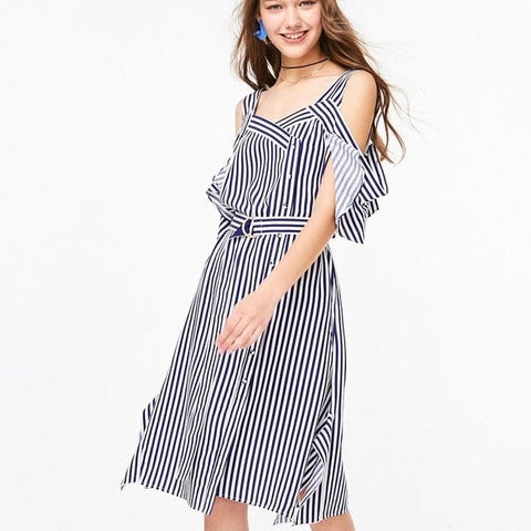 Striped Ruffled Slip Dress