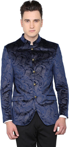 Dark Blue Polyester Single Breasted Blazer