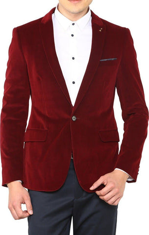 Purple Polyester Single Breasted Casual Men's Blazer