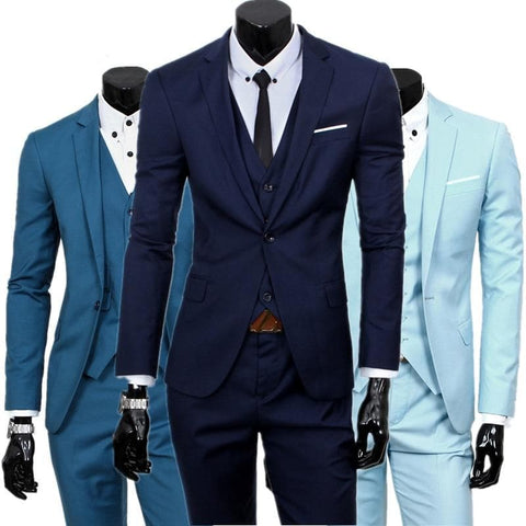 Single Breasted Three Piece Business Suit Coat Waistcoat Trousers