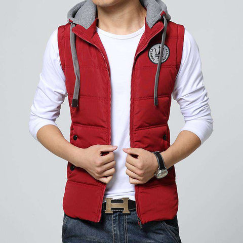 Sleeveless Cotton Wadded Hooded Vest - Wear.Style
