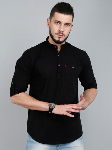 Mandarin Collar three Quarter Sleeve Solid Straight Kurta