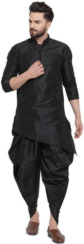 Mandarin Collar Silk Kurta and Dhoti Pant Set