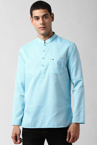Blue Mandarin Collar Textured Straight Kurta