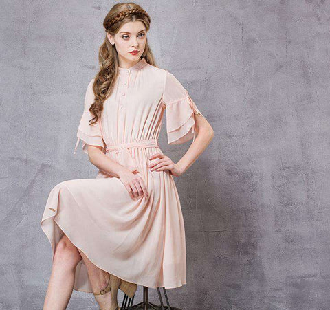 Stand Collar Butterfly Sleeve Empire Waist Wide Hem Dress With Sashes