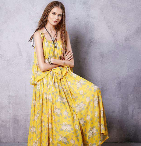 Vintage Print Sleeveless Off Shoulder Strapless Floor-Length Chiffon Dress