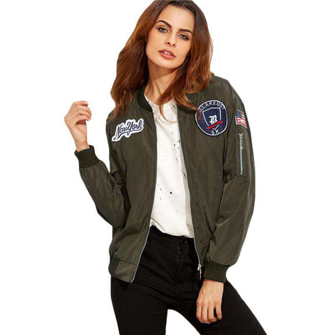 Army Green Embroidered Patch Zipper Stand Collar Long Sleeve Bomber Jacket