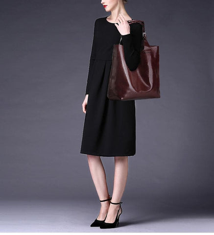 100% Genuine Leather Retro Shoulder Tote Bags