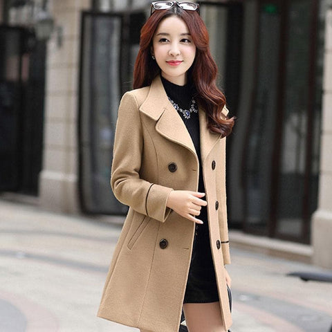 Wool Blend Turn-down Collar Double Breasted Trench Coat