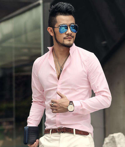 Slim Stretch Long Sleeve Single Breasted Square Collar Shirt