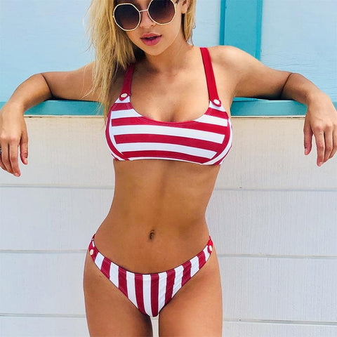 Red White Lace Up Striped Print Low-Waist Bikini