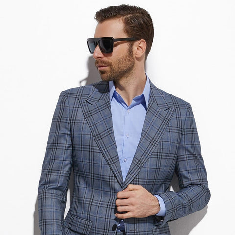 Blue Grey Plaid Custom Made Slim Fit Glen Plaid Two-piece Suit