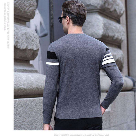 Striped O-Neck 100% Real Merino Woollen Knitted Cashmere Sweater Pullovers