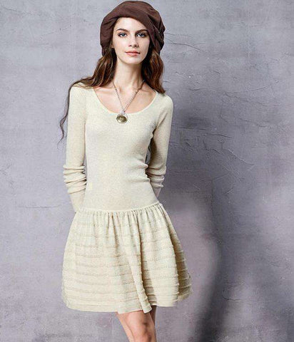 Slim Fit Knitted O-Neck Long Sleeve All-match A-Line Dress