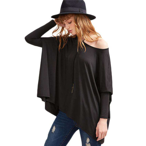 Black Boat Neck Oversized Dolman Long Sleeve Loose Top