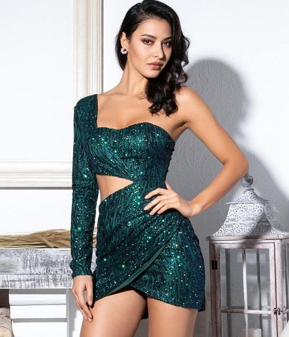 Green Cut Out Single Sleeve Glitter Glue Bead Material Slimfit Dress