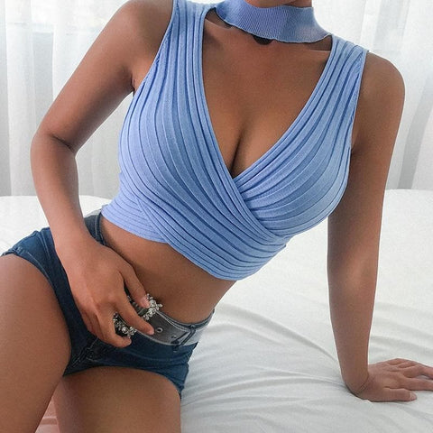 Halter Bandage Hollow Out Sleeveless Crop Tank Top