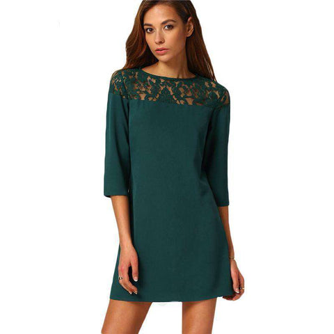 Dark Green Three Quarter Length Sleeve Mini Dress