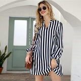 Notched Collar Striped Long Sleeve Basic Short Tunic Dress