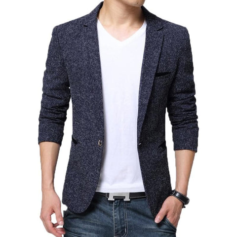 Single Breasted Notched Collar Slim Fit Smart Casual Blazer