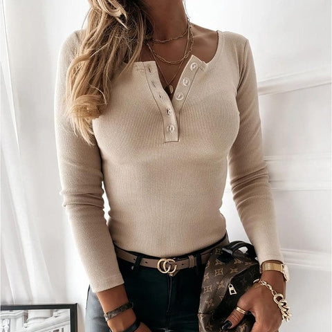 Long Sleeve Knitted  Front Button Skinny Elastic Cotton Top