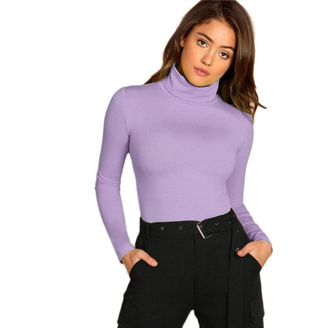 Purple Turtle Neck Form Fitted Tee Long Sleeve Casual Top
