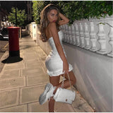 Strapless Sleeveless Tight Bag Hip Fold Wrapped Ruffled Dress