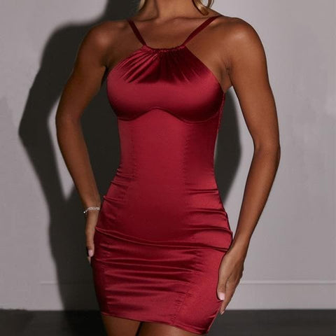 Spaghetti Straps Curve Carving Mini Party Slim Fit Dress