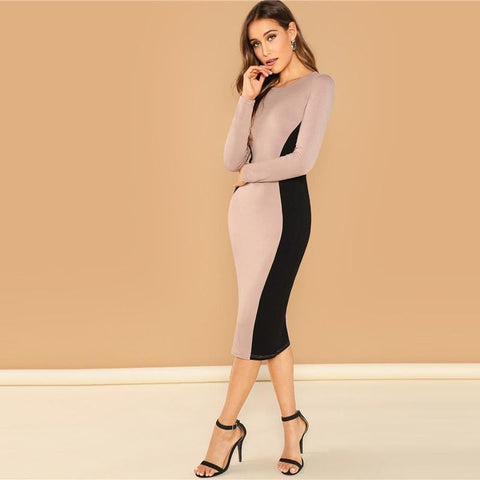 Color Block Round Neck Long Sleeve Pencil Slim fit Dress