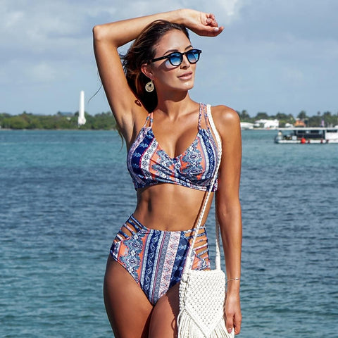 Boho Print Cross Front Lace Up High Waist Strappy Bikini