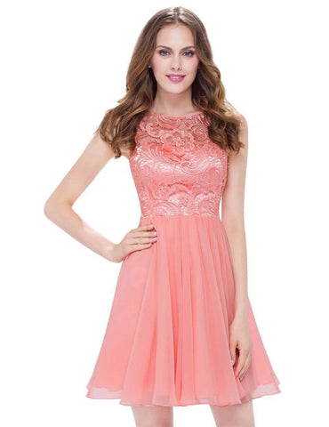 Peach O-Neck Sleeveless Short A Line Dress
