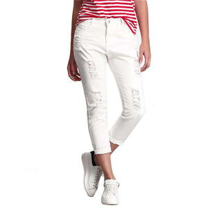 European American Style White Ripped Straight  Button Fly Pants
