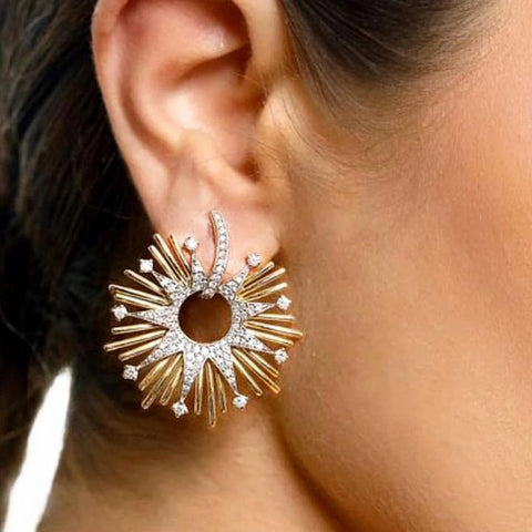 Charms Fireworks Flower Paved Crystal Zirconia Drop Earrings