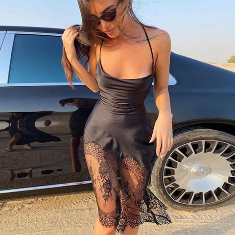 Spaghetti Strap Lace See Through Bandage Satin Dress