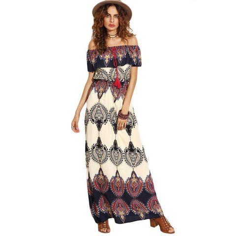 Bohemian Style Off The Shoulder Ruffle Maxi Dress