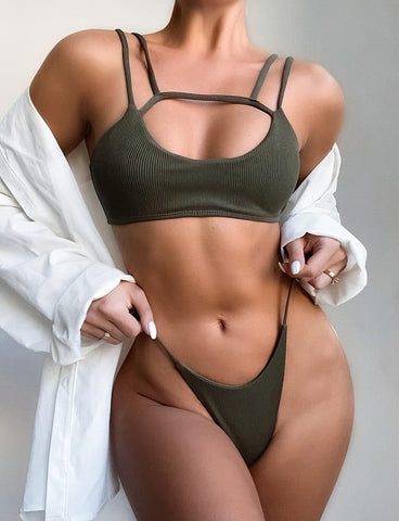 Ribbed Bandage Low Waist Bikini