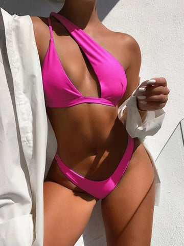 One Shoulder Low Waist Bikini Swimsuit