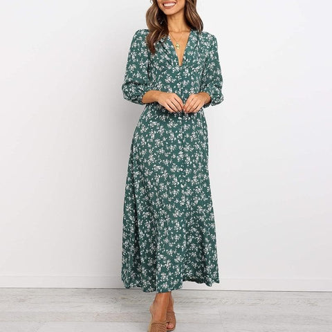 Chiffon Long  Floral Print Lantern Sleeve A-line Dress