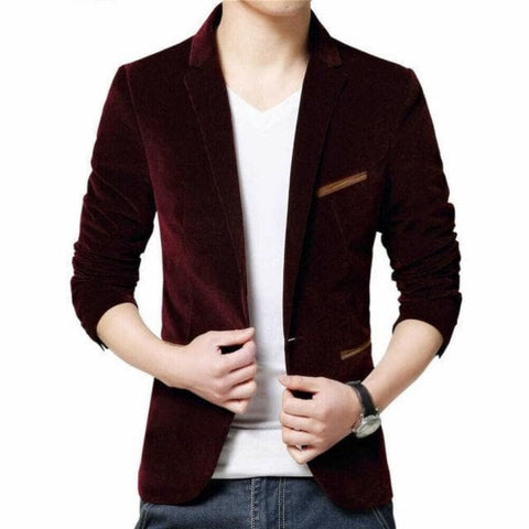 One Button Velvet Business Slim Fit Blazer