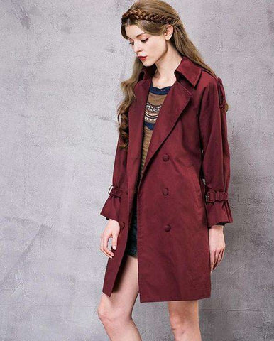 Loose Turn-down Collar Long Sleeve Double Breasted Trench Coat