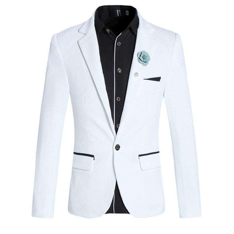 White One Button Closure Slim Fit Blazer