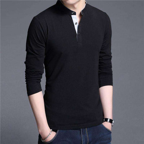 Cotton Long Sleeve Mandarin Collar Tshirt