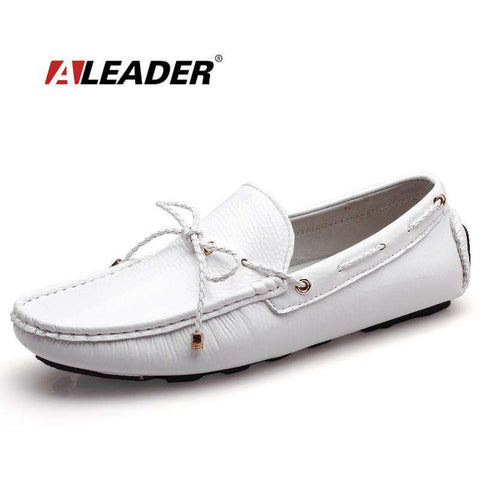 Patent Leather Classic White Loafers - Wear.Style