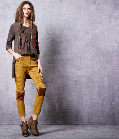 Ethnic Patchwork Cotton Ankle-Length Mid-waist All-match Pencil Pants