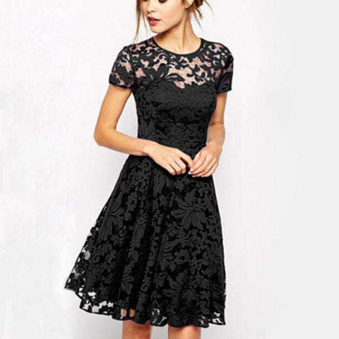 Floral Lace Short Sleeve Mini Dress