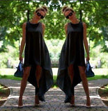 Bohemian Irregular Loose Flare Sleeveless Dress - Wear.Style